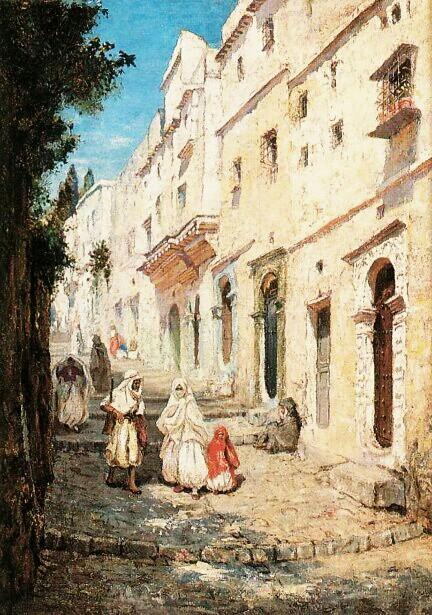 Algérie - Peintre Américain Addison Thomas Millar (1860 – 1913), huile sur toile , Titre Rue de la Casbah d'Alger